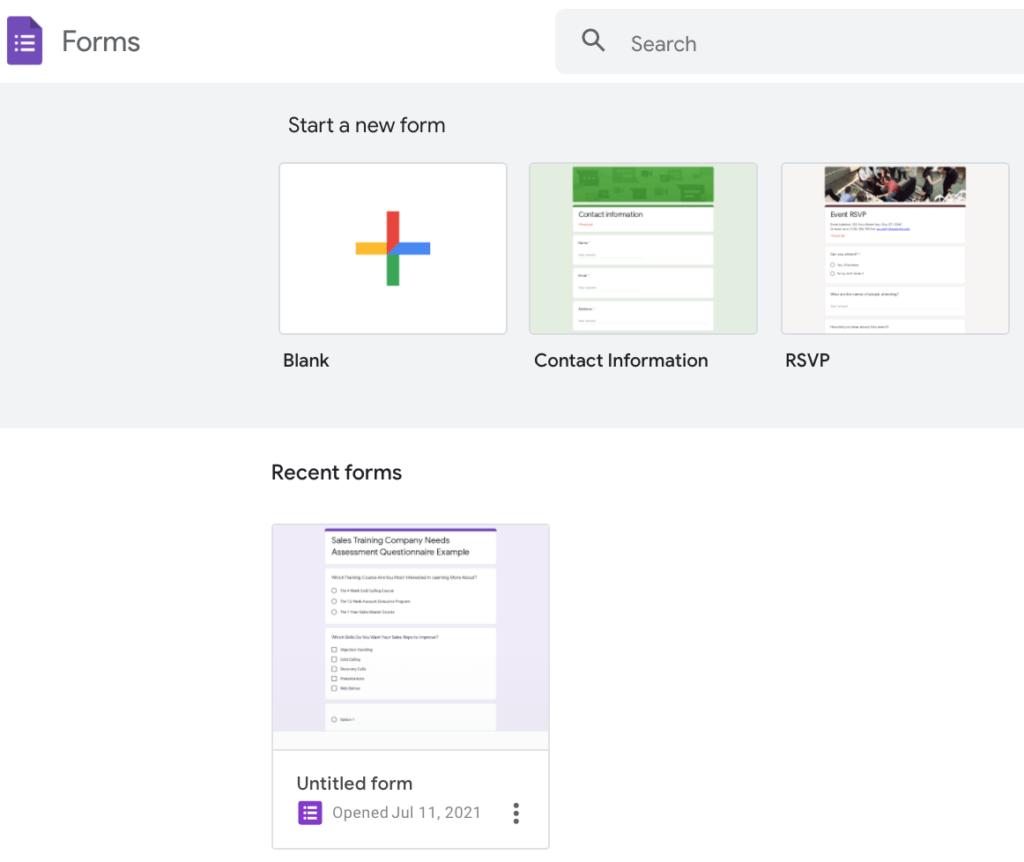 Google Forms Needs Assessment