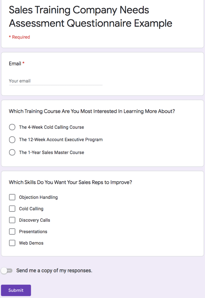 Google Forms questionnaire example Needs Assessment