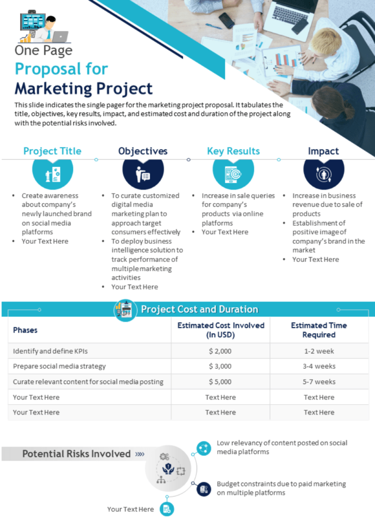 Marketing services one page proposal example