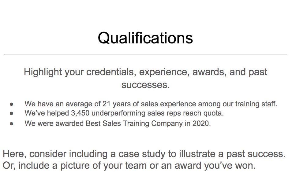 Qualifications example