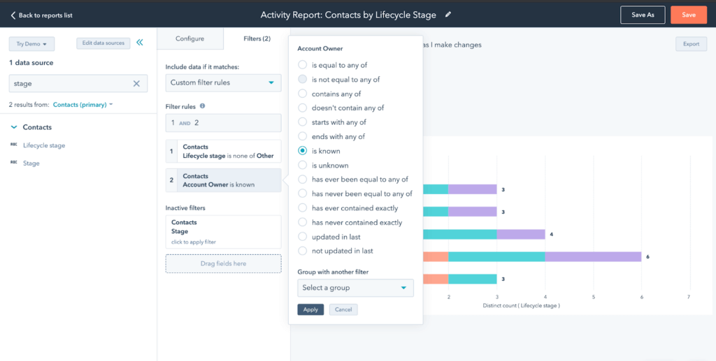 Reporting filters in HubSpot CRM