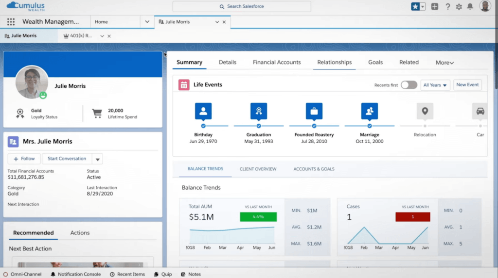 Salesforce Financial Services Cloud - crm for financial advisors