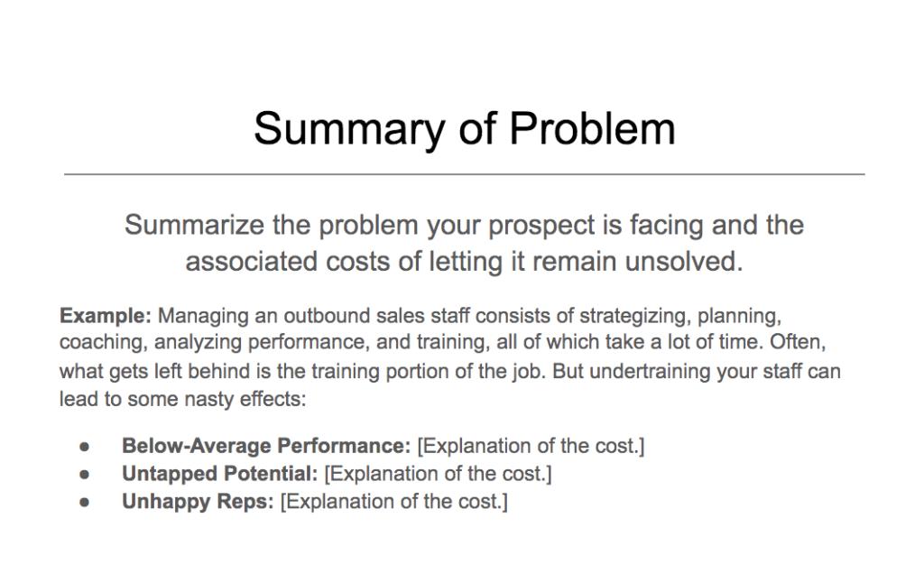 Summary of problem example