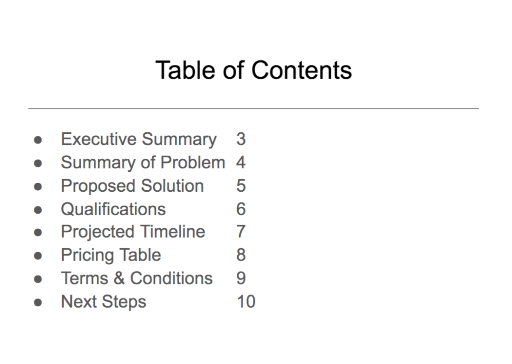 Table of contents example