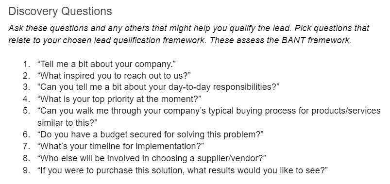 Template discovery questions Discovery Call
