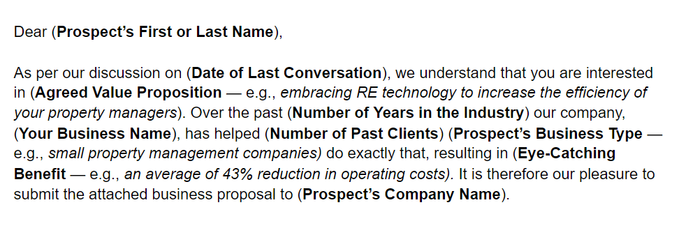 business proposal letter introduction example