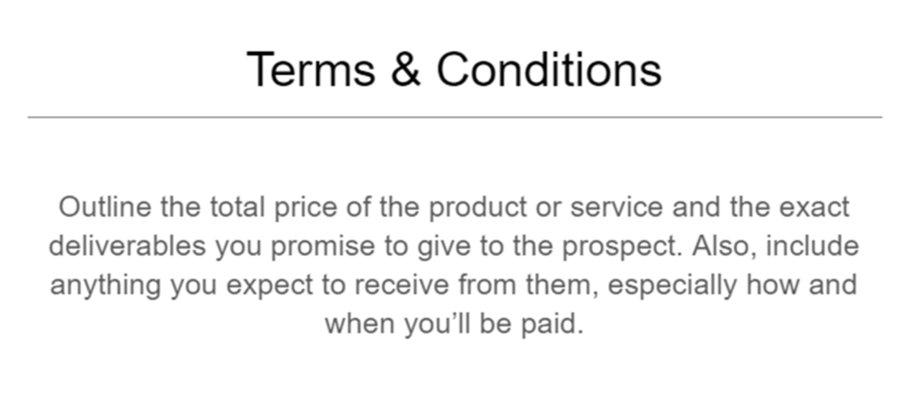Template terms & conditions