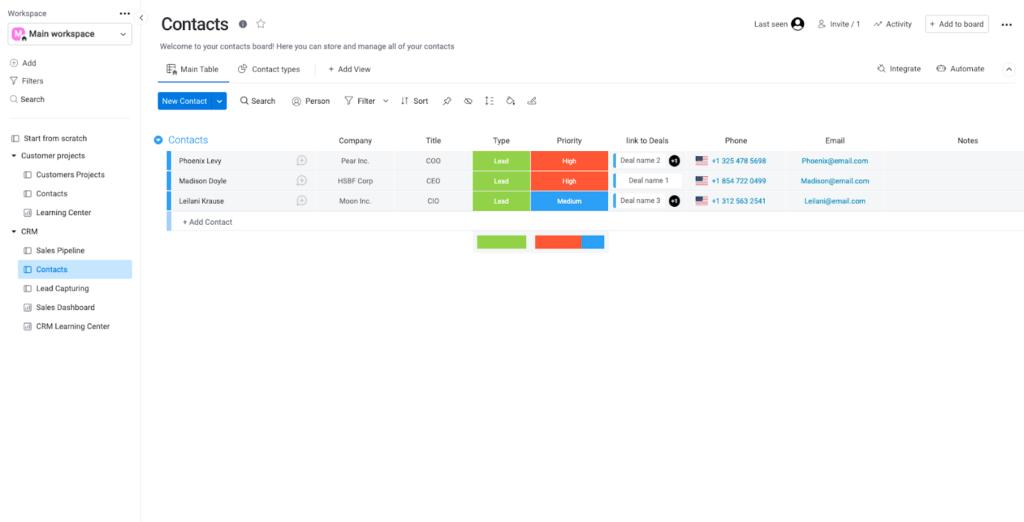monday.com - Contact Management Software