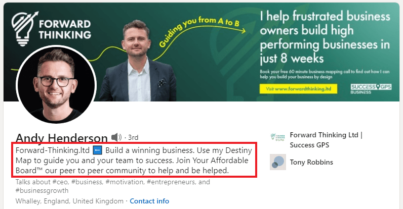 Andy Henderson - Linkedin Headline Examples for Sales