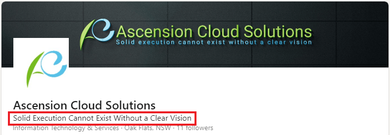 Ascension Cloud Solutions - Linkedin Headline Examples for Sales