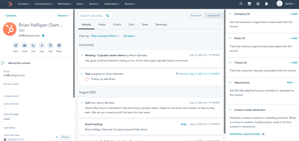 CRM features example contact management