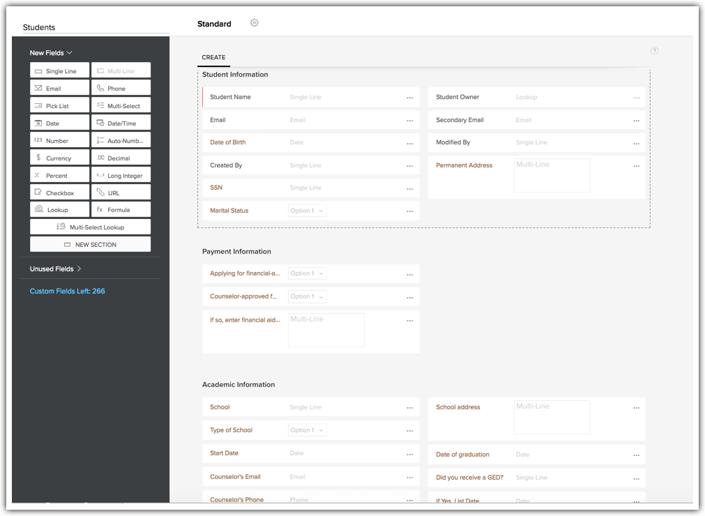 CRM features example customization