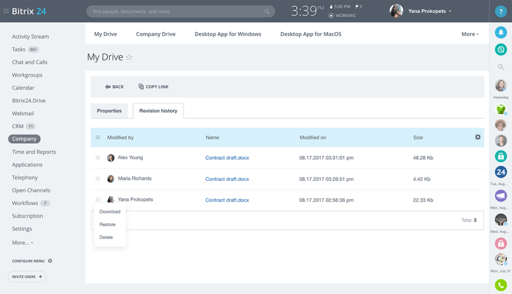CRM features example document management