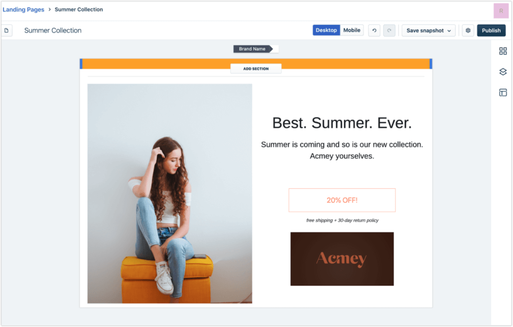 CRM features example landing page builder