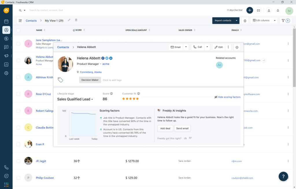 CRM features example lead management
