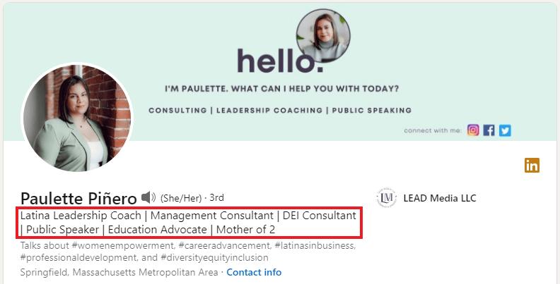 Paulette Piñero - Linkedin Headline Examples for Sales