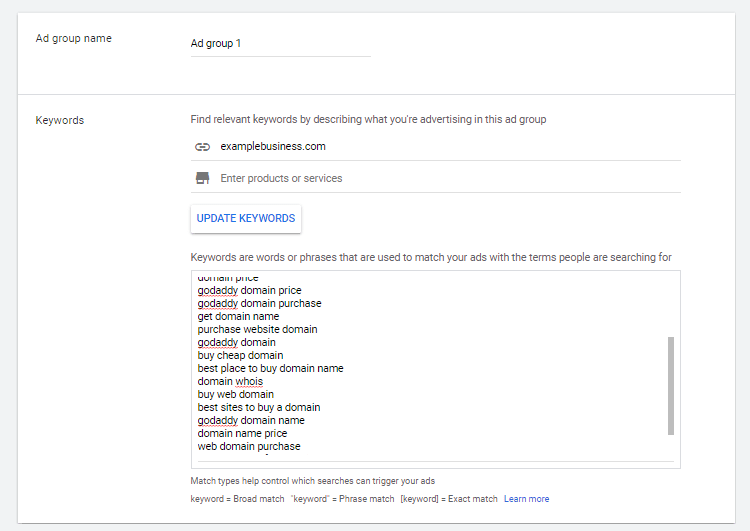 Google Ads ad groups