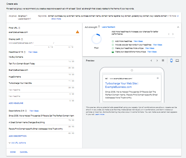 Google Ads step to create ads