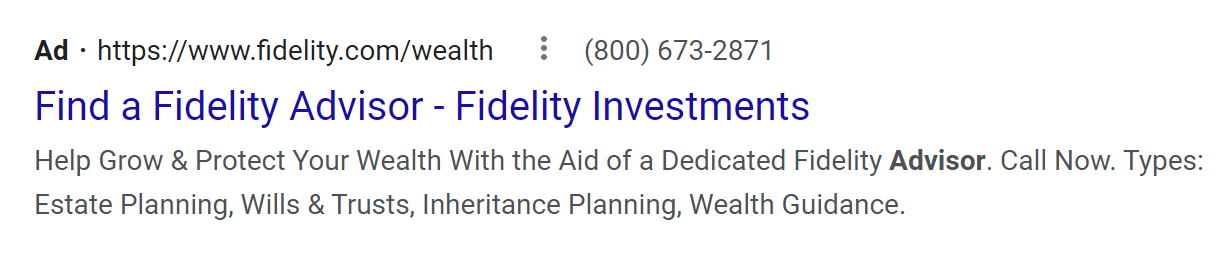 Google Search ad with display path