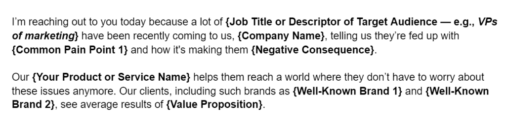Sales email template pitch