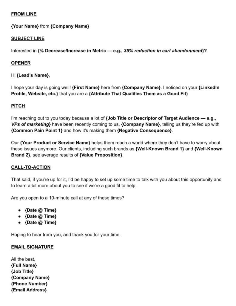 free sales email template
