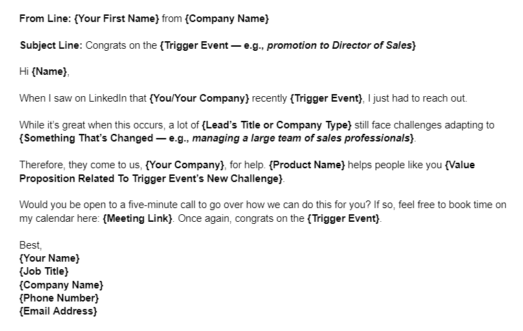Sales Email Template Example for After a Trigger Event