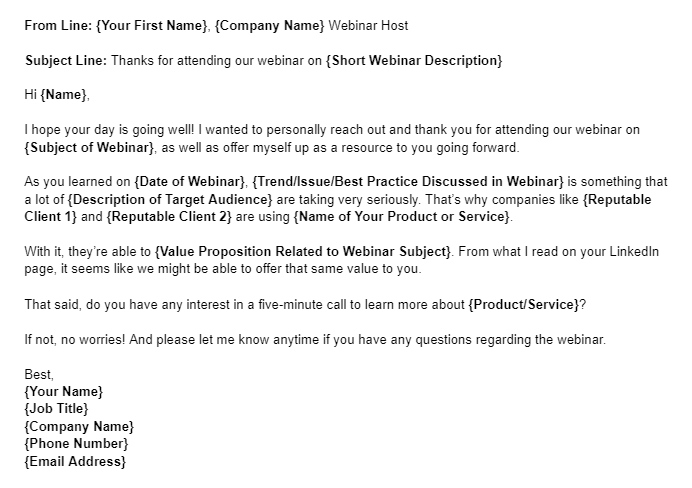 Sales Email Template Example for a Webinar Attendee