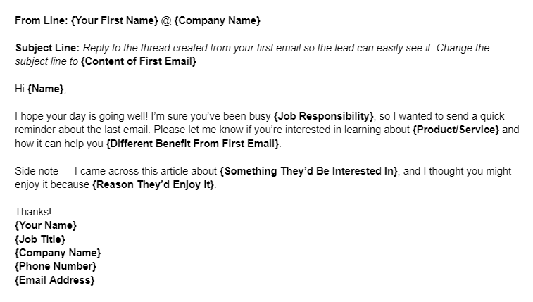 Sales Email Template for a Cold Lead Follow-up