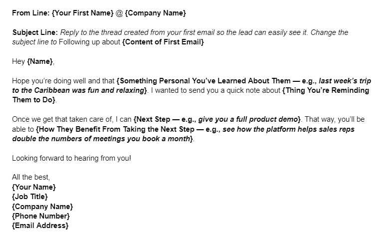 Sales Email Template for a Warm Prospect Follow-up