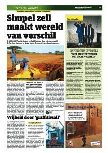 Foto van een advertorial in het dagblad Metro voor Cordaid Mensen in Nood..