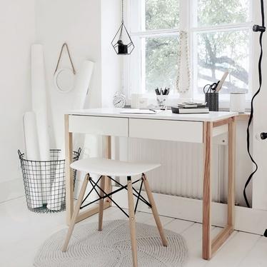 skandynawia bureau avec deux tiroirs 120 cm blanc bois selsey