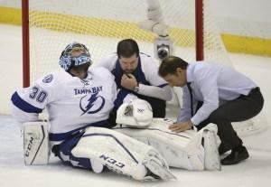 Ben Bishop injury in 2015 Stanley Cup Final