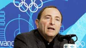 NHL Commissioner Gary Bettman at conference with IOC