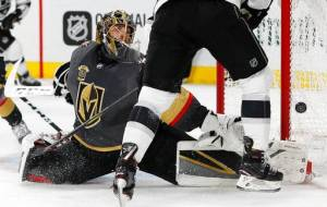 Fleury in-game against the Los Angeles Kings in the 2018 Stanley Cup Playoffs