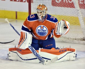 NHL goaltender Cam Talbot keeping his butt up as he sits in a butterfly stance