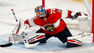 Sergei Bobrovsky stretching out for a blocker save