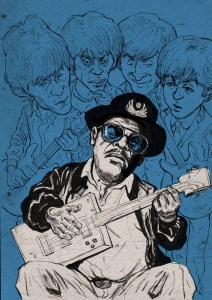 Bo Diddly (with Keith Richards, Mick Jagger, John Lennon and Paul McCartney) Illustration
