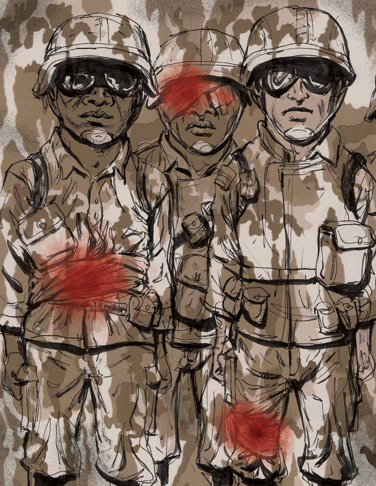 Covering up Wounded Soldiers