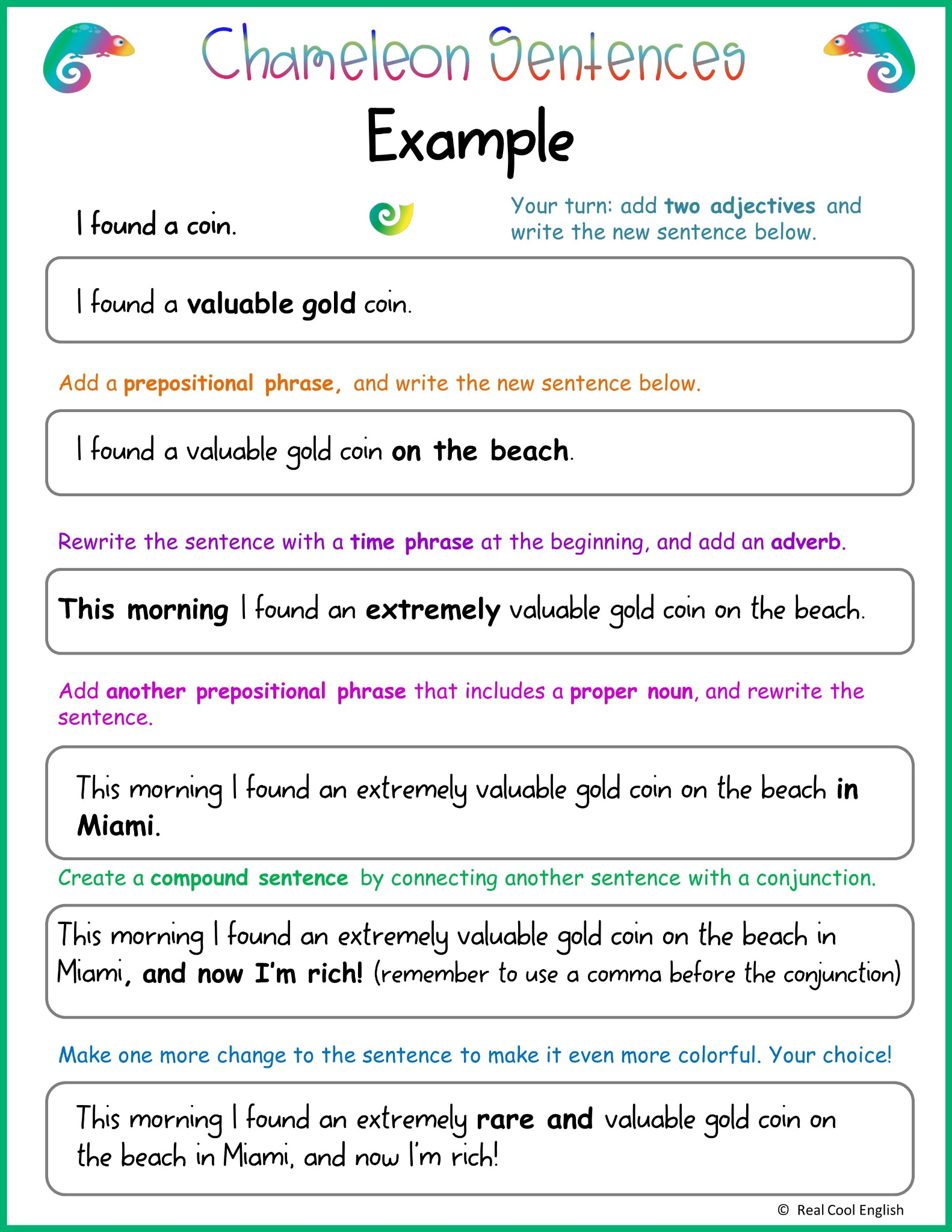 hight resolution of Writing Sentences: Adding Descriptive Details - Real Cool English