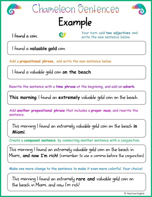 small resolution of Writing Sentences: Adding Descriptive Details - Real Cool English