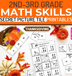 Thanksgiving Math   2nd-3rd   Printable Secret Picture Tiles - FlapJack  Educational Resources [ 3000 x 3000 Pixel ]