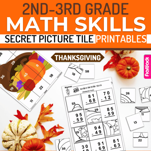 small resolution of Thanksgiving Math   2nd-3rd   Printable Secret Picture Tiles - FlapJack  Educational Resources