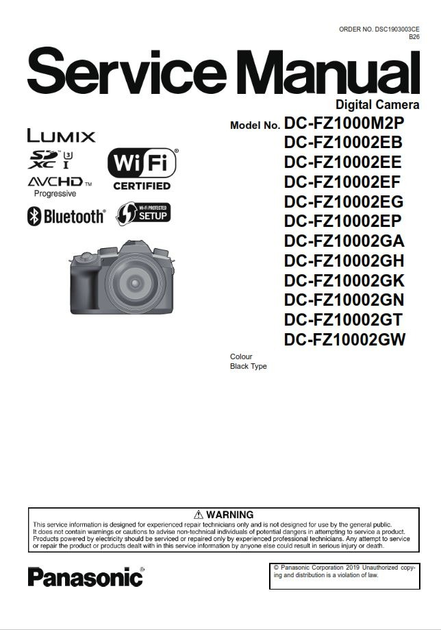Panasonic Lumix DC FZ1000 II Service Manual and Repair