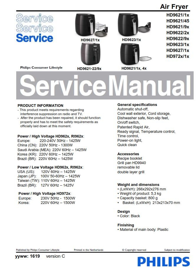 Philips Airfryer HD9721 HD9623 Service Manual FREE