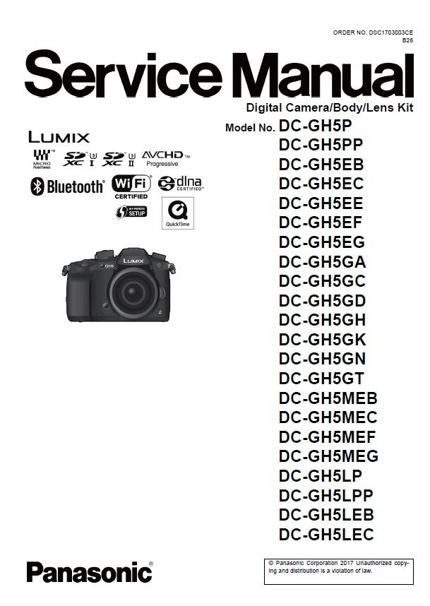 Panasonic Lumix DC GH5 Service Manual and Repair Guide
