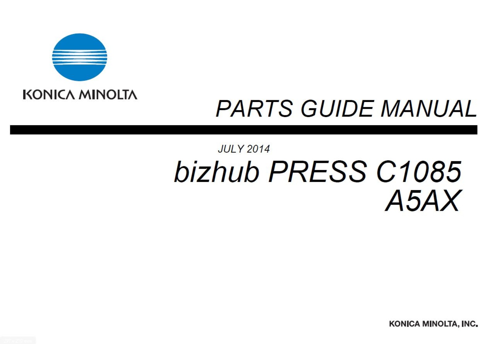 Konica-Minolta BizHub PRESS C1085 C1100 Printer Service