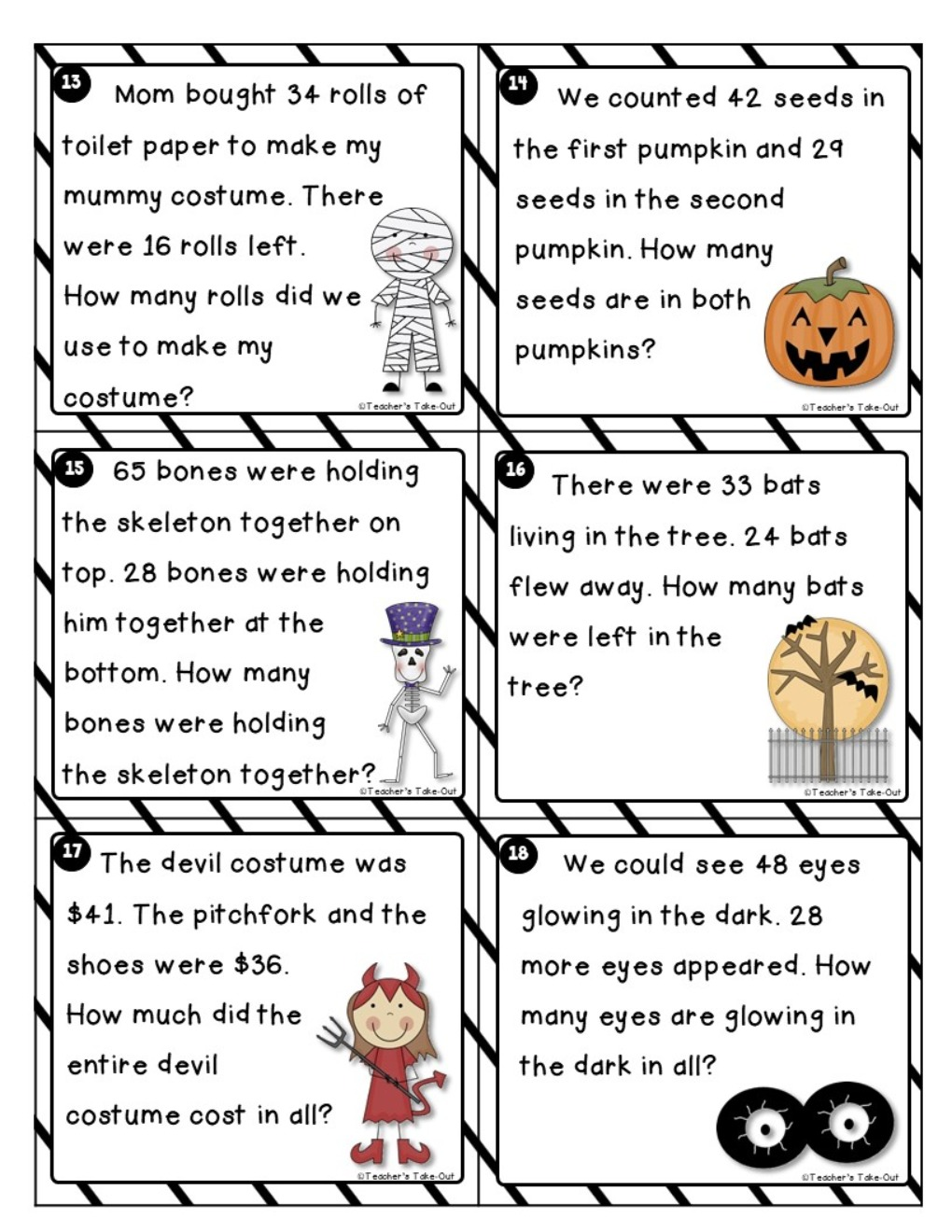 Halloween Word Problems using 2-Digit Addition/Subtraction