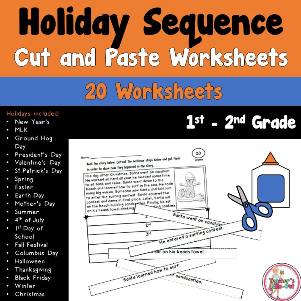 hight resolution of Holiday Sequence Cut and Paste Worksheets - Teacher's Take-Out
