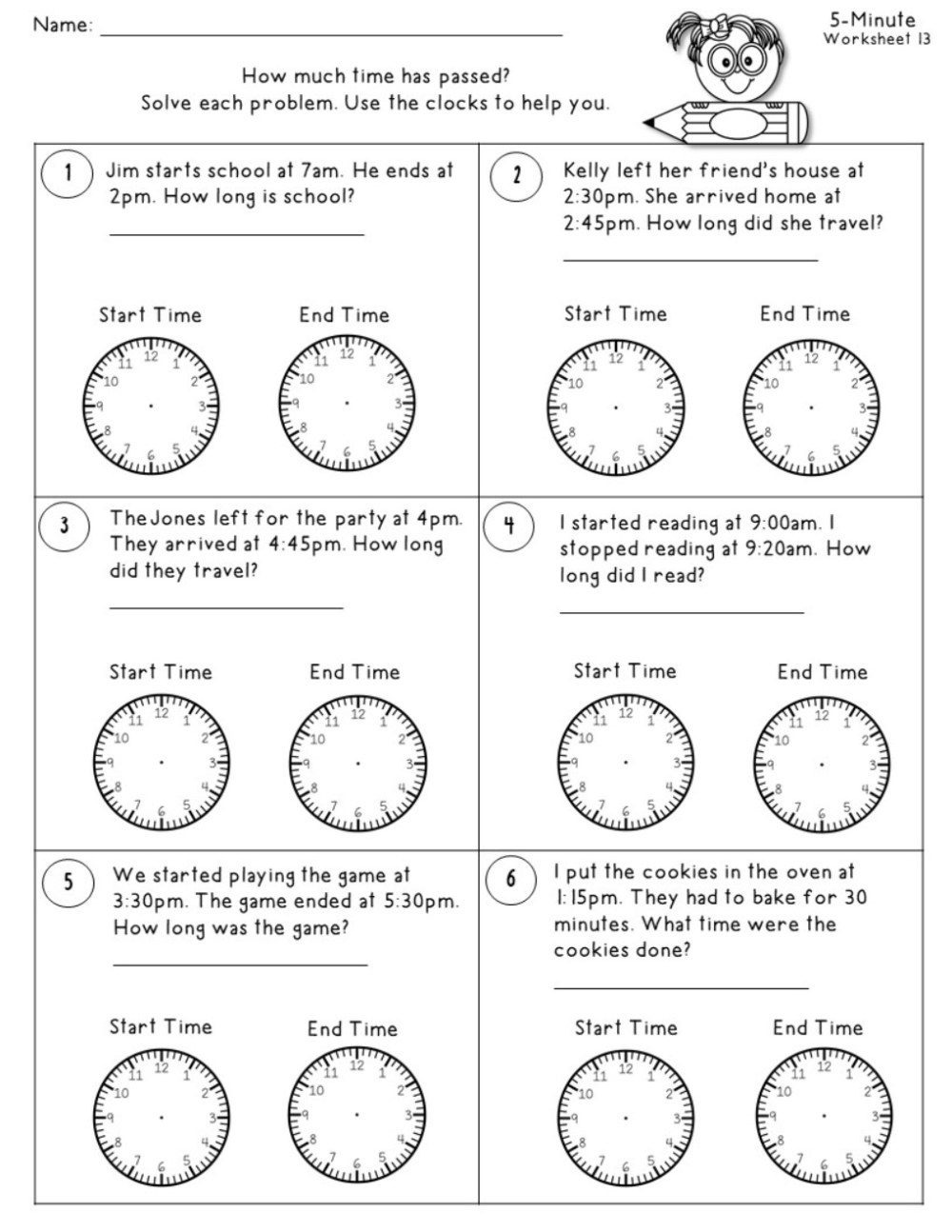 medium resolution of Time Worksheets to the Nearest 5 Minutes - Teacher's Take-Out