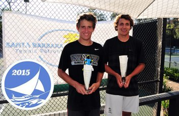 Graham Maassen, right, is the 2015 singles champion. On the left is runner-up Spencer Ekola.